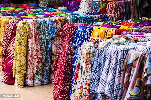 istock Rolls oh cloth selling at Cho Lon market, Saigon, Vietnam 493506098