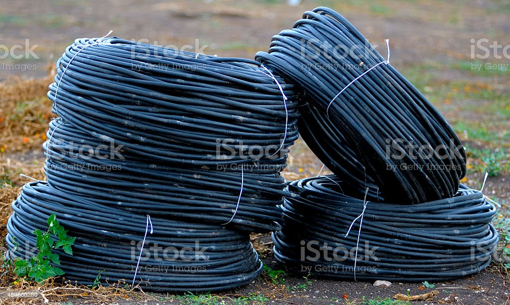 rolls pvc pipes for irrigation campaign stock photo