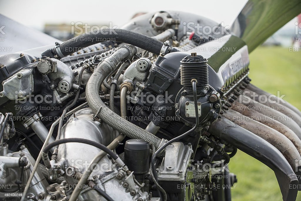 Rolls Royce Merlin aero engine stock photo