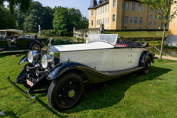 Rolls Royce Phantom II classic car Jüchen, Germany - August 1, 2014: 1935 Rolls Royce Phantom II by James Young classic car on display during the 2014 Classic Days event. royce lake stock pictures, royalty-free photos & images