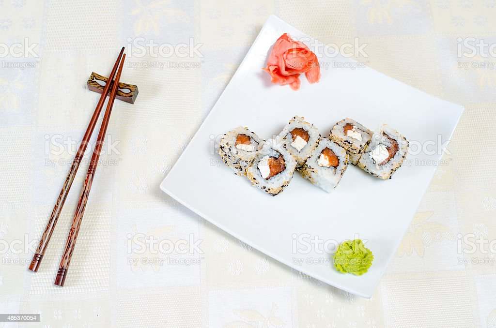 Rolls, sushi and ginger stock photo