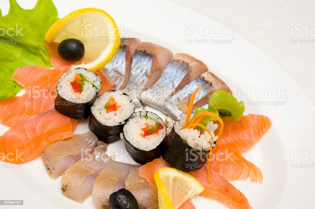 rolls with fish royalty-free stock photo