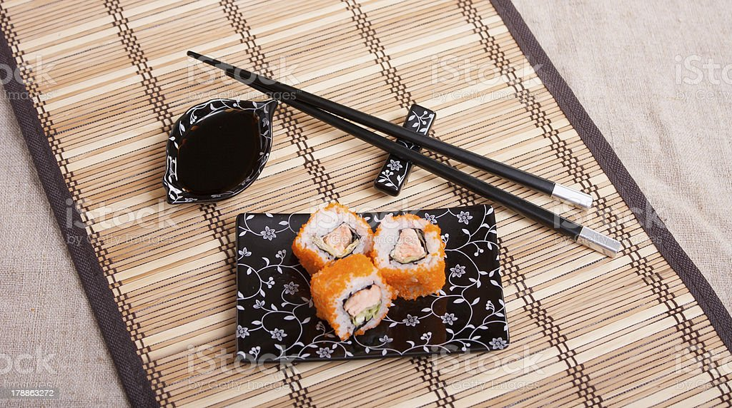 Rolls with salmon royalty-free stock photo