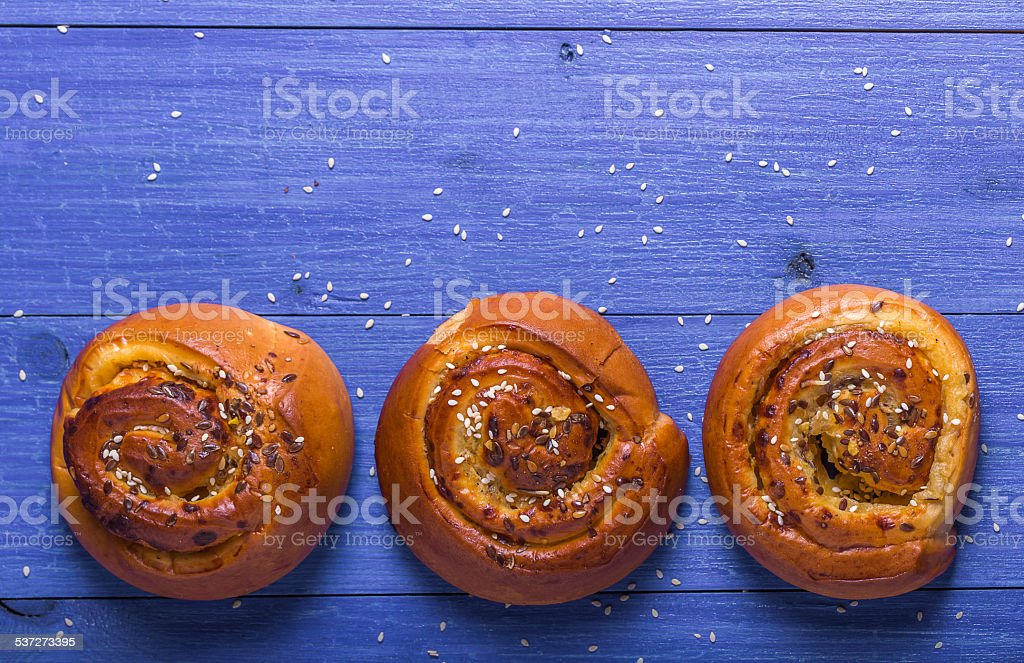 Rolls with sesame seeds and sunflower seeds stock photo