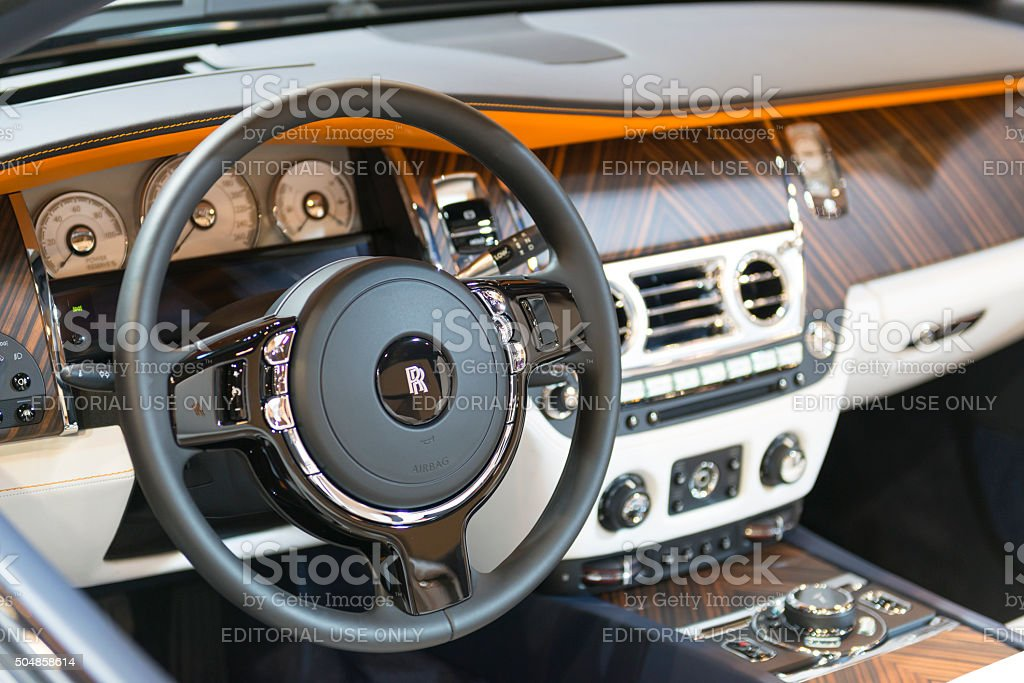 rolls royce dawn four seater luxury convertible dashboard royalty free stock photo