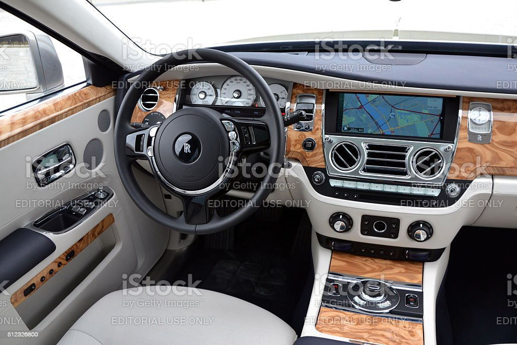 Rollsroyce silver ghost interior stock photo more for Rolls royce ghost interior