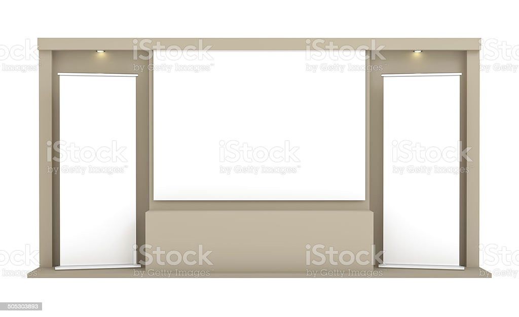 Roll-up Banner gegenüber dem braunen Wand – Foto