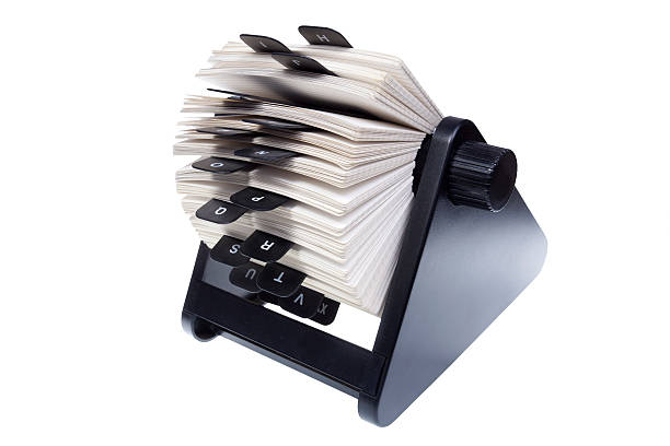 rolodex on white background - address book stock photos and pictures