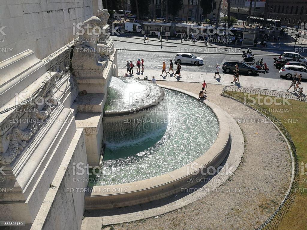Roma - Fontana del Tirreno dal Vittoriano stock photo