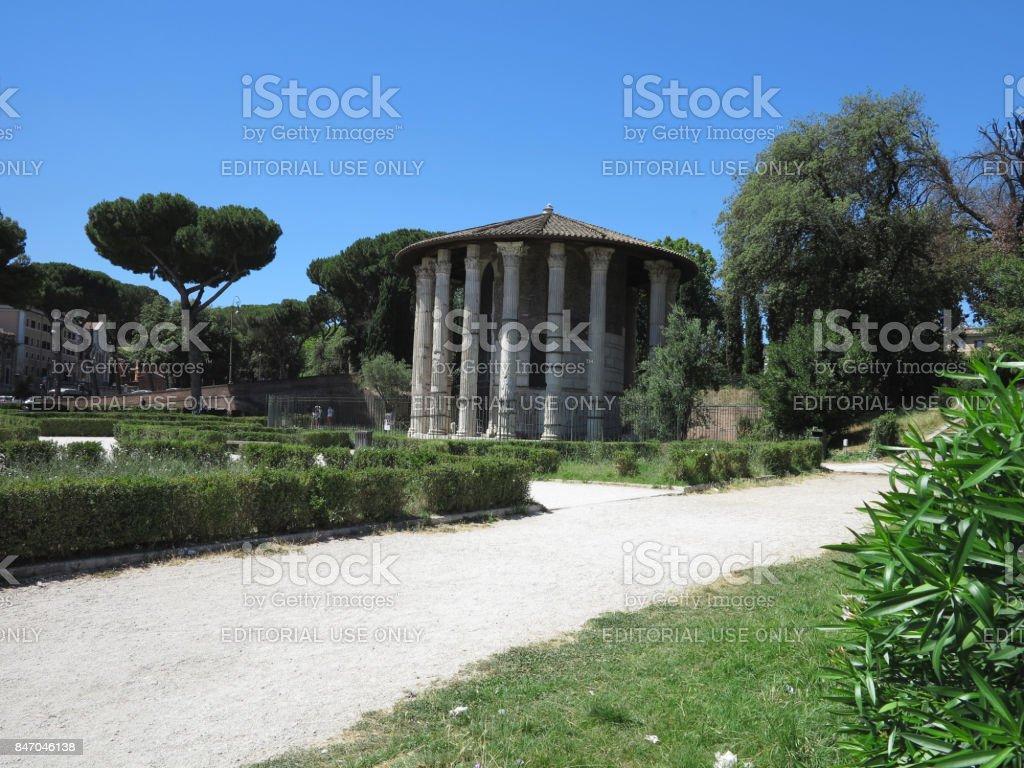 19.06.2017, Roma, Italy: Circular temple of Hercules Victor formerly Temple of Vesta. Built in 120 BC. Piazza Bocca della Verita. stock photo