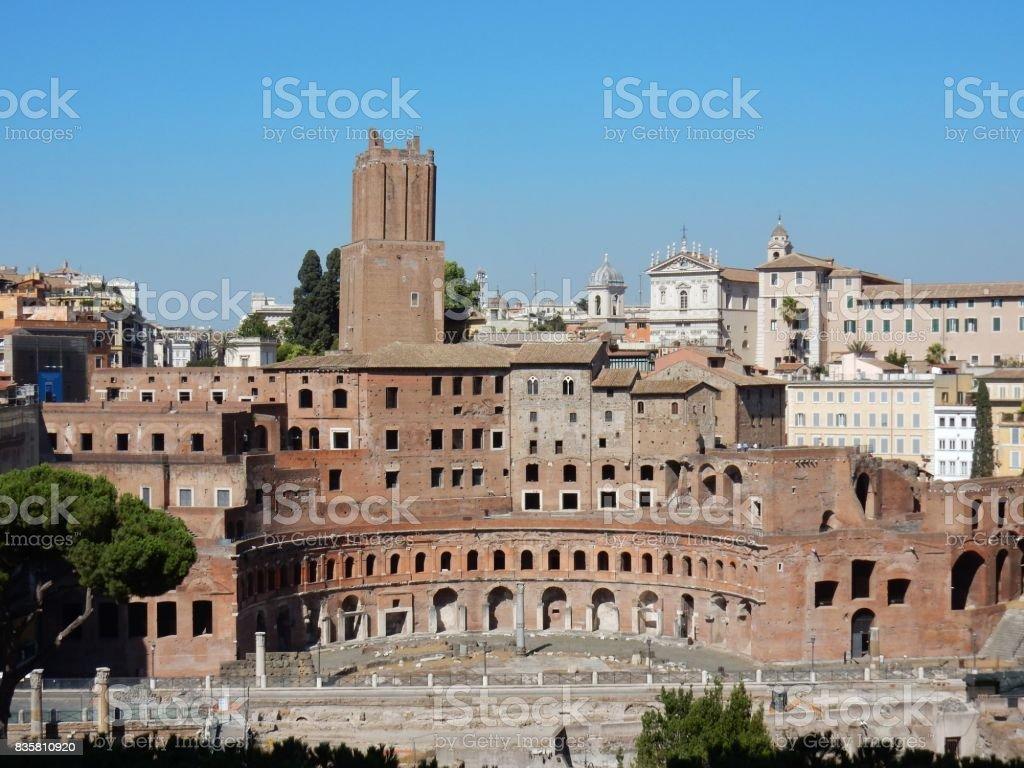 Roma - Mercati di Traiano dal Vittoriano stock photo