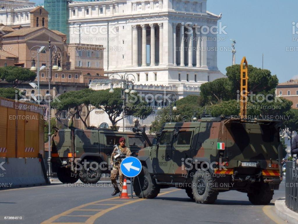 Roma - Presidio militare ai Fori Imperiali stock photo