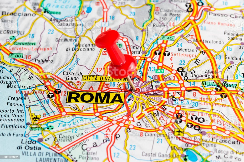 Roma Rome Map Italy Europe Stock Photo More Pictures Of Aiming