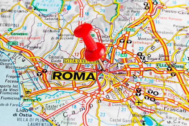 Roma, Rome Map - Italy Europe A red pushpin on a map pointing to Rome, Italy. lazio stock pictures, royalty-free photos & images