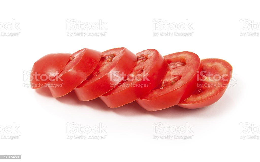 Roma Tomatoes on a White Background stock photo