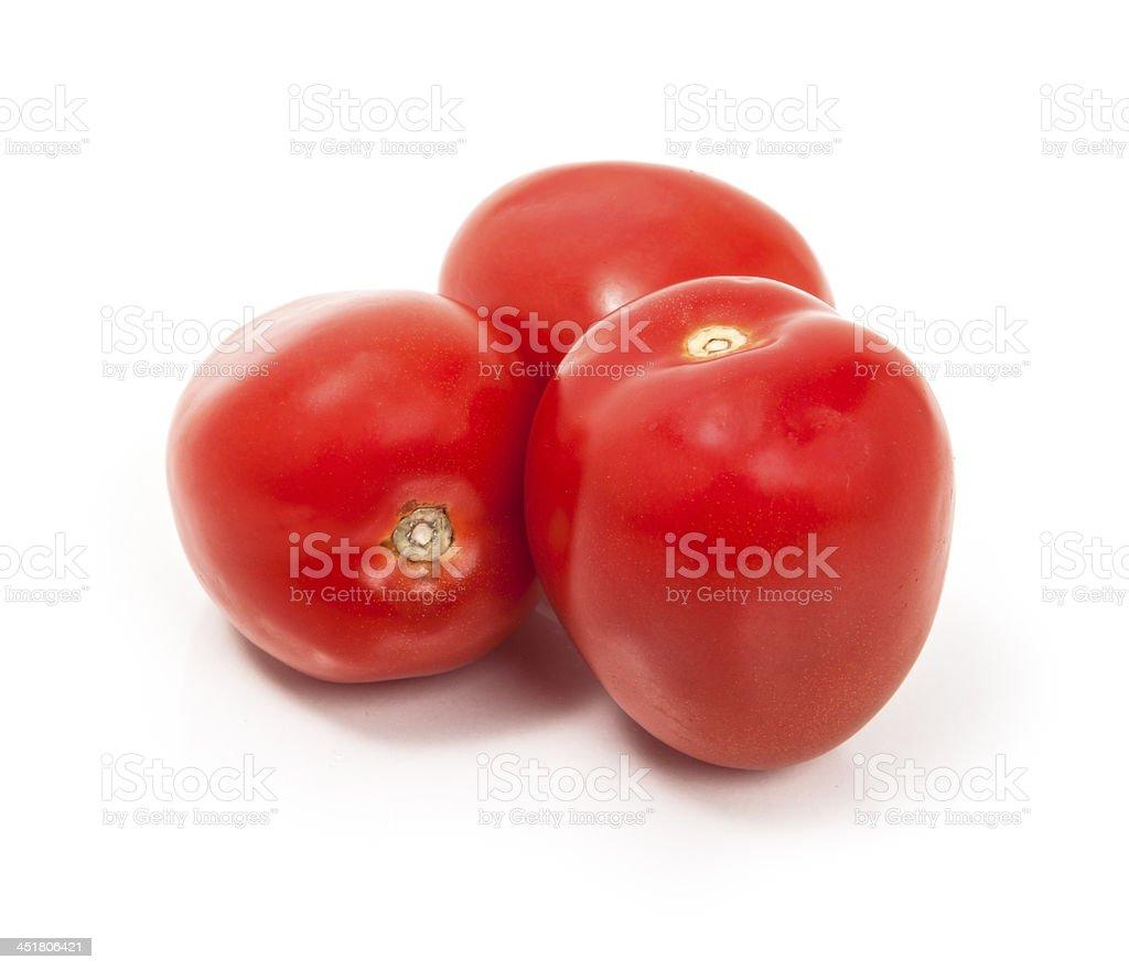Roma Tomatoes on a White Background stock photo