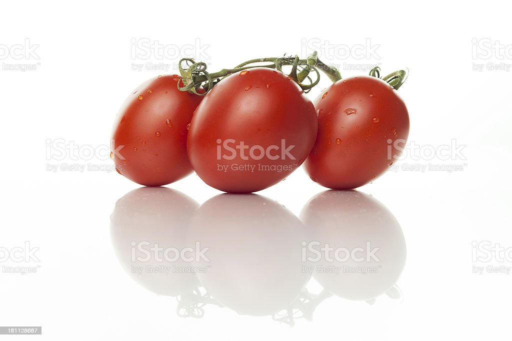 Roma Tomatoes On The Vine stock photo