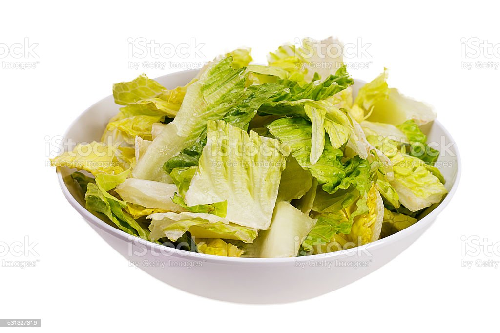 Romaine Lettuce Salad Isolated on White stock photo