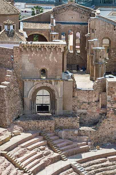 roman amphitheater in cartagena, murcia spain - cartagena museum stock photos and pictures