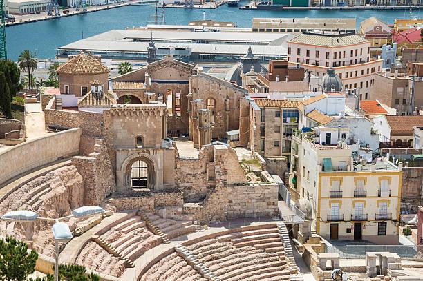 roman amphitheater in cartagena, spain - cartagena museum stock photos and pictures