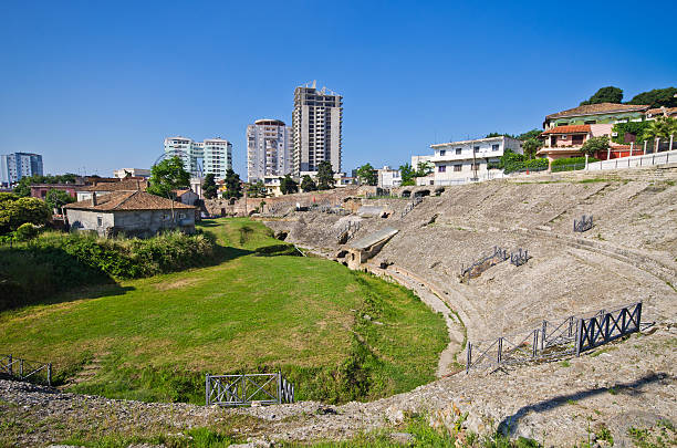 Roman amphitheater in Durres, Albania stock photo