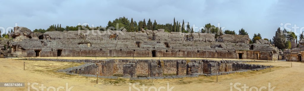 Roman amphitheater in Italica, Spain royaltyfri bildbanksbilder