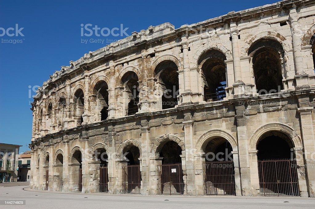 Roman Amphitheater in Nimes stock photo
