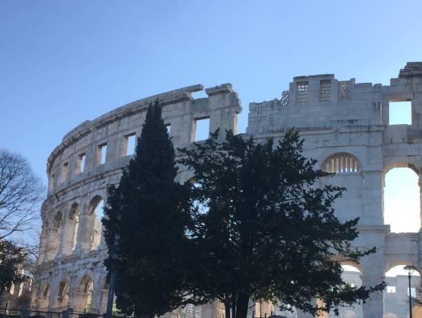 Roman amphitheater in Pula, Croatia stock photo