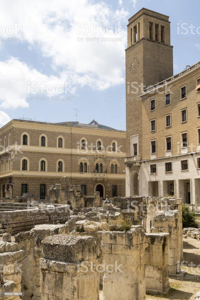 Roman amphitheater of Lecce, Italy stock photo