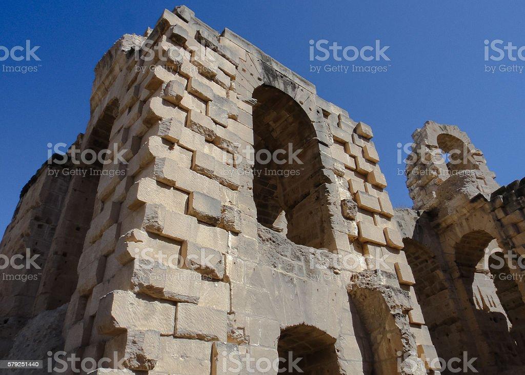 Roman amphitheater of Thysdrus in El Djem town. Tunisia stock photo