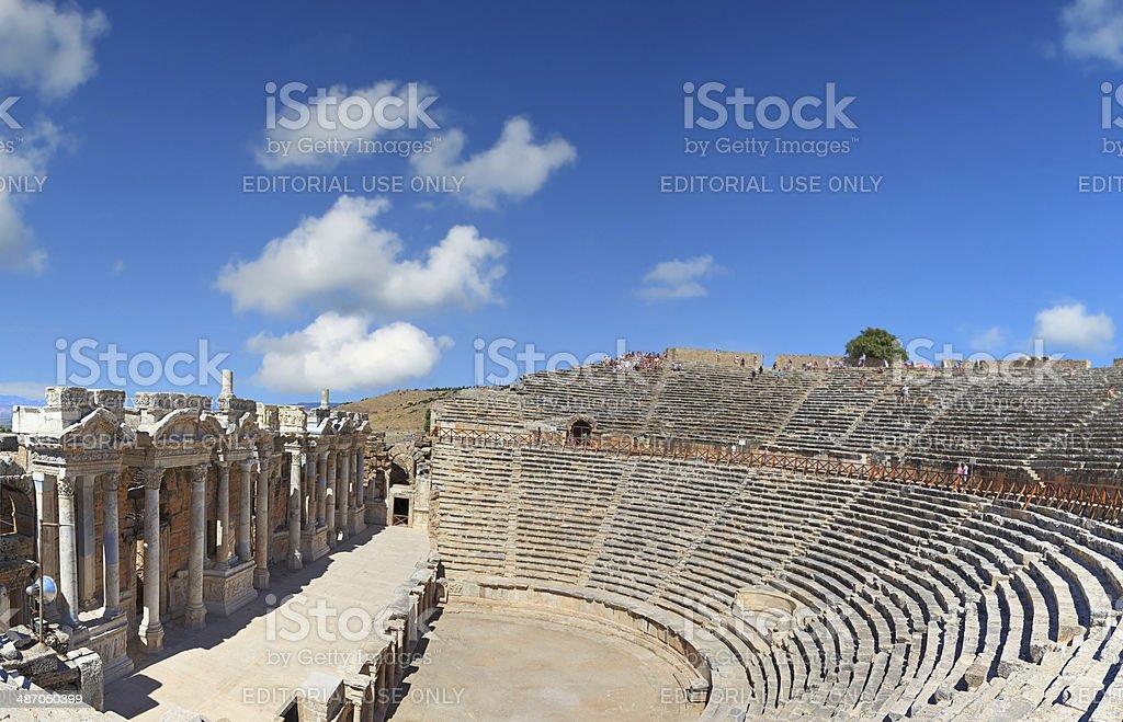 Roman Amphitheatre at Hierapolis - Panoramic royalty-free stock photo