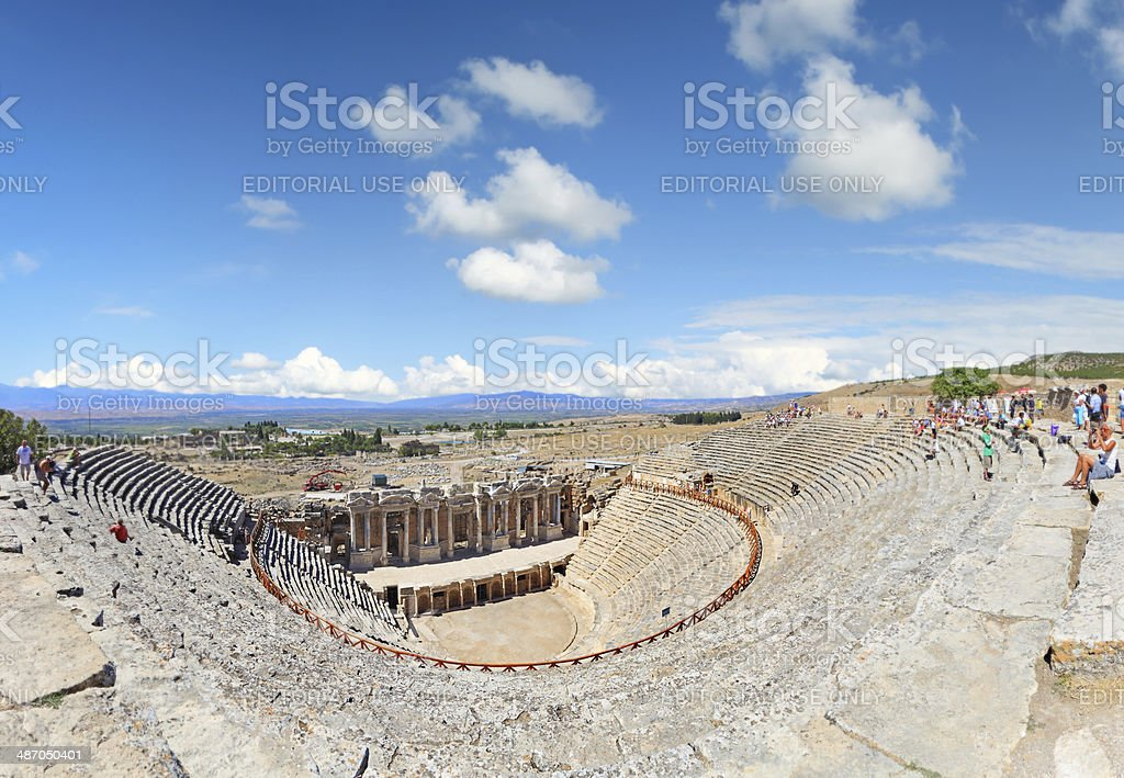 Roman Amphitheatre at Hierapolis - Panoramic stock photo