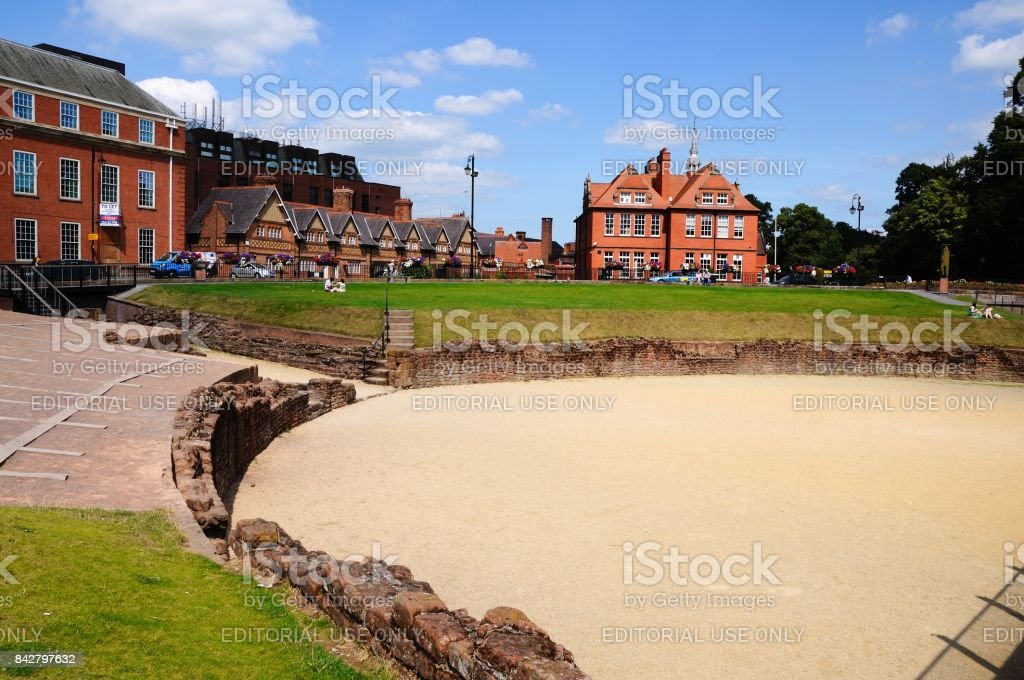 Roman amphitheatre, Chester. stock photo