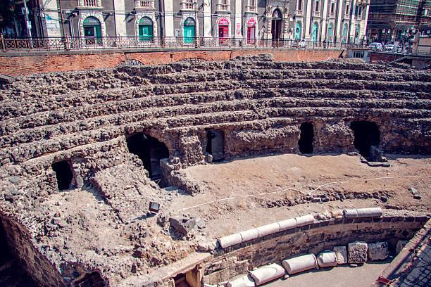 Roman amphitheatre in Catania, Sicily stock photo