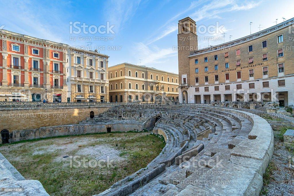 Roman amphitheatre in Lecce, Italy. stock photo