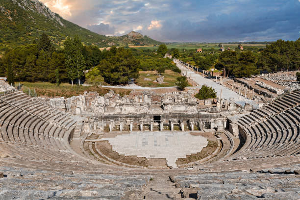 Roman amphitheatre in the ruins of the Roman city of Ephesus, Turkey Ruins of Ephesus, Turkey ephesus stock pictures, royalty-free photos & images