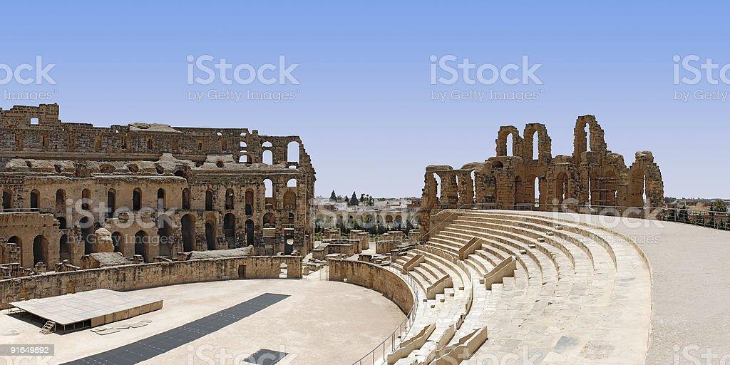 Roman Amphitheatre in Tunisia royalty-free stock photo
