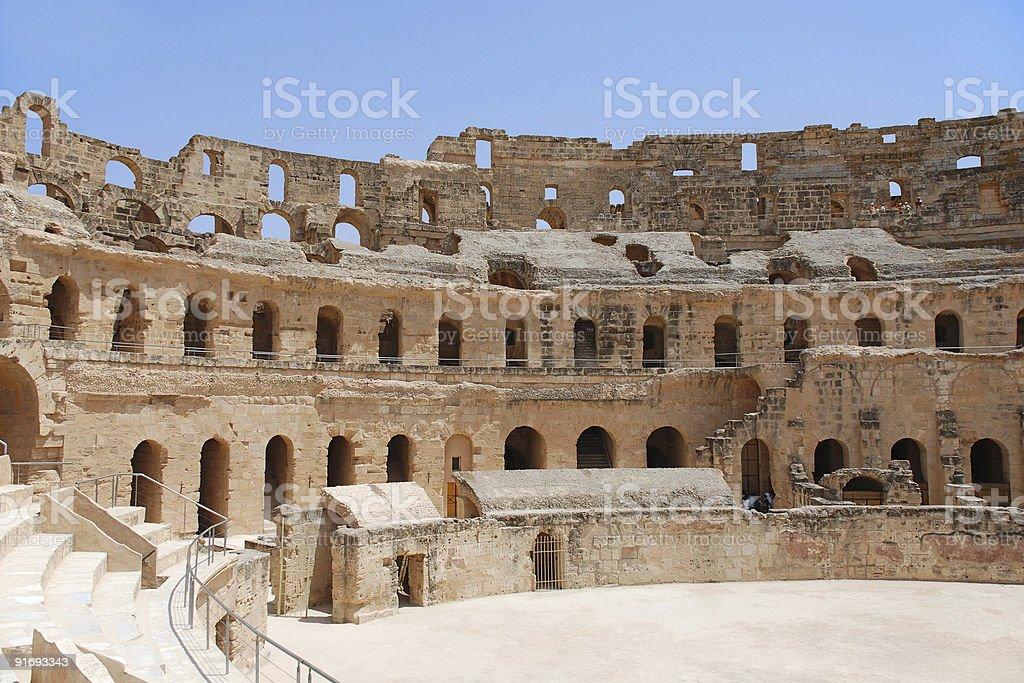 Roman Amphitheatre in Tunisia stock photo