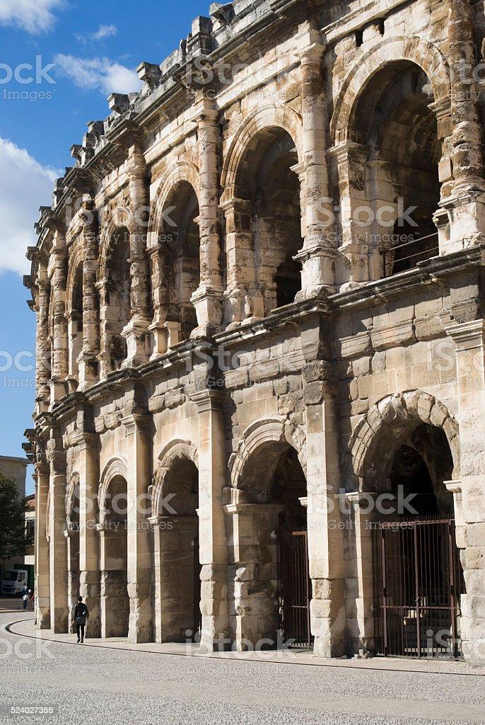 Roman amphitheatre of Nîmes, France stock photo