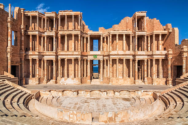 Roman Amphitheatre of Sabratha , Libya , Tripolitania stock photo