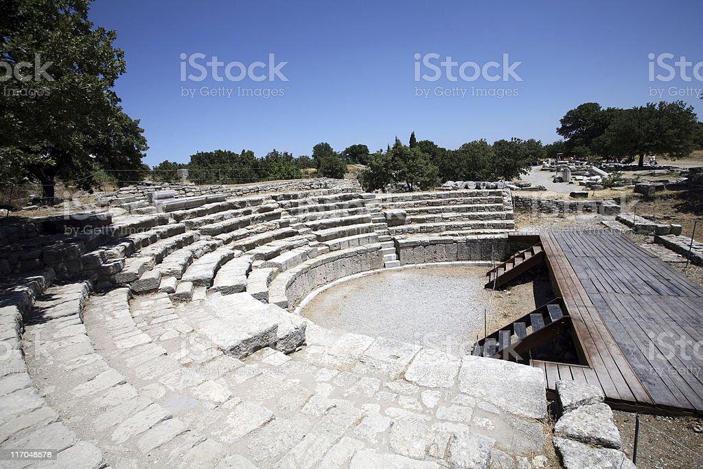 Roman amphitheatre, Troy stock photo