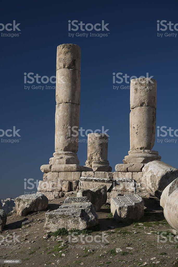 Roman and Greek ruins, Citadel, Amman, Jordan stock photo