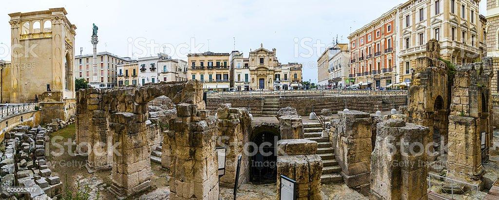 Roman Anphitheater and S.Oronzo Square, Lecce stock photo
