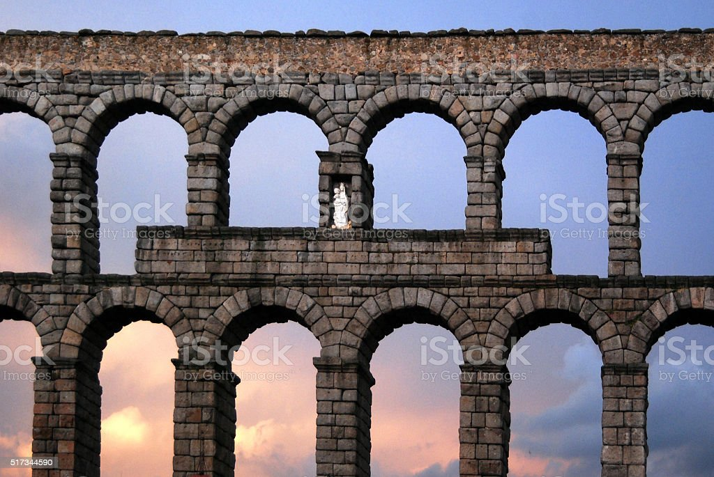 Roman aquaduct in Segovia, Spain stock photo