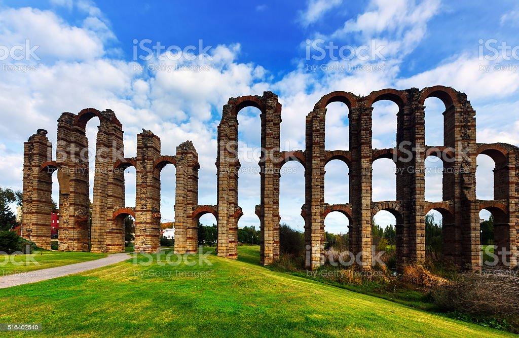 Roman aqueduct bridge. Merida, Spain stock photo