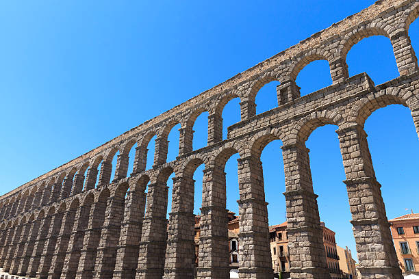 Roman Aqueduct in Segovia - Spain stock photo