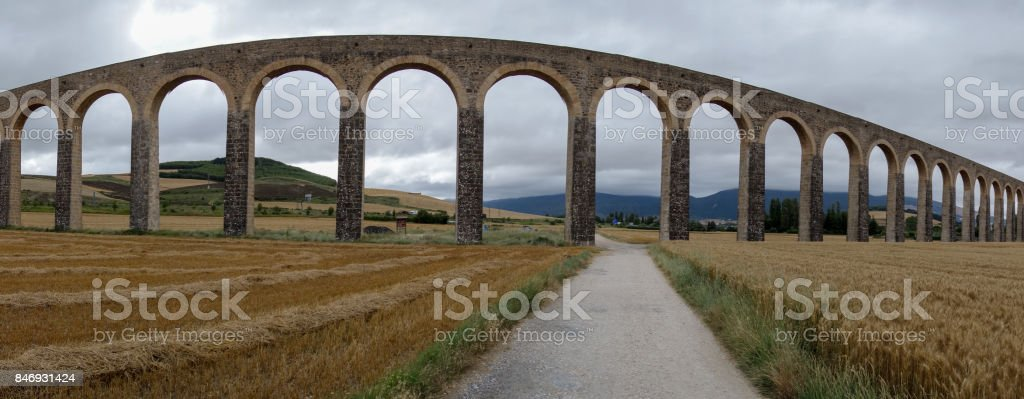 Roman aqueduct in the province of navarra, spain stock photo