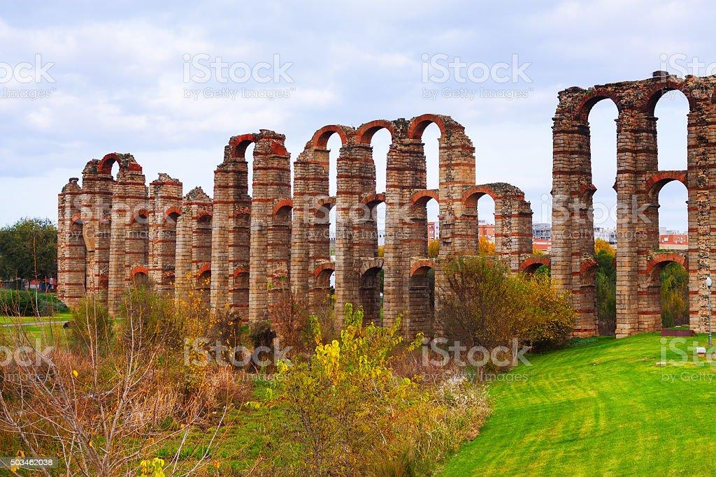 Roman aqueduct. Merida, Spain stock photo