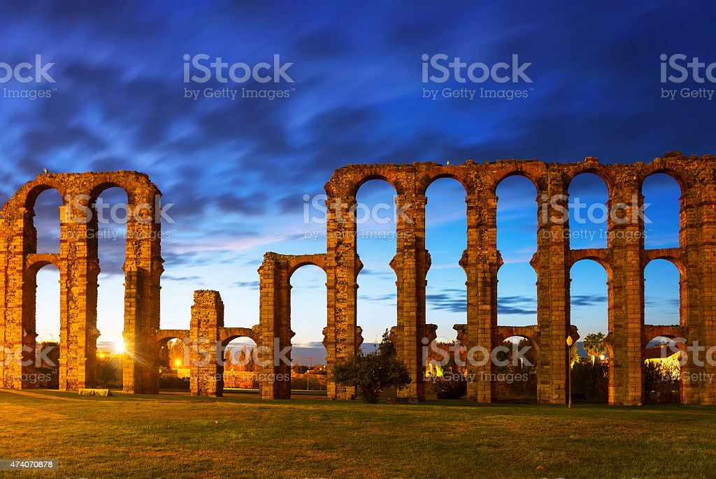Roman Aqueduct of Merida in  twiligh stock photo