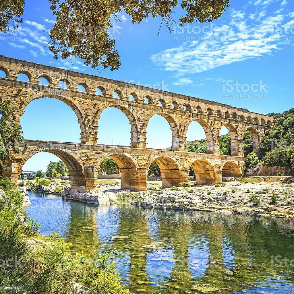 Roman aqueduct Pont du Gard, Unesco site.Languedoc, France. stock photo